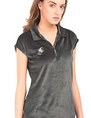 EdHardy Women Zip Placket Velvet Top