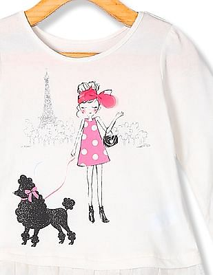 The Children's Place Toddler Girl White Long Sleeve Embellished Graphic Mesh Ruffle Hem Top