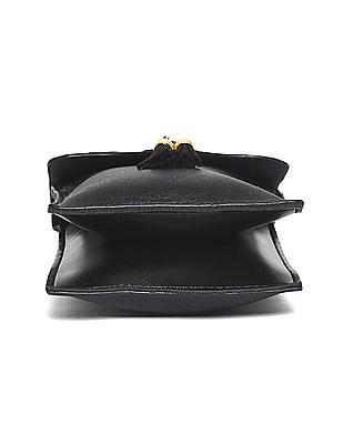 SUGR Black Printed Flap Sling Bag