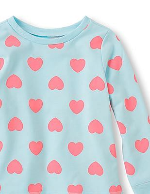 The Children's Place Girls Blue Long Sleeve Heart Print Active Sweatshirt