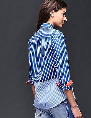 GAP Women Blue Colorblock Stripe Fitted Boyfriend Shirt