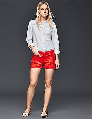 GAP Women Red Authentic 1969 Patch Pocket Summer Shorts