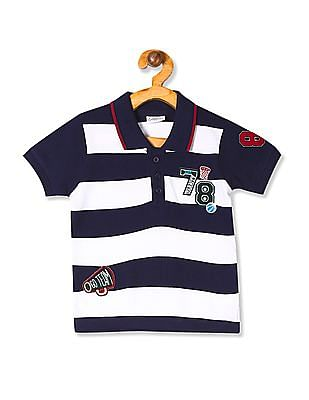 Donuts Blue Boys Striped Polo Shirt
