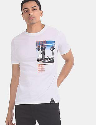 Colt Men White Front Print Crew Neck T-Shirt