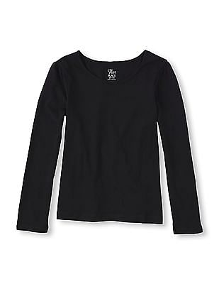The Children's Place Girls Black Long Sleeve Knit Top