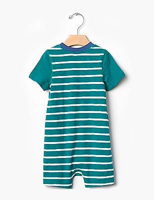GAP Baby Green Stripe Shortie One-Piece