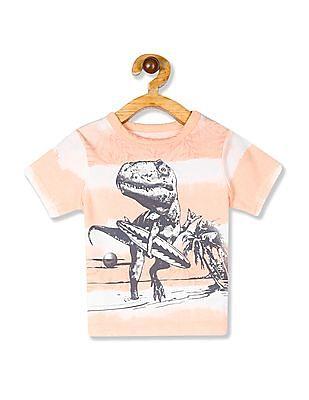 The Children's Place Orange Toddler Boy Crew Neck Tie-Dye Stripe T-Shirt