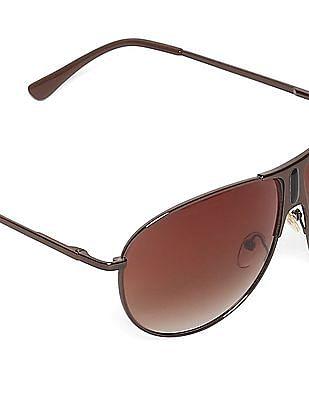 Flying Machine Brown Round Frame Gradient Sunglasses