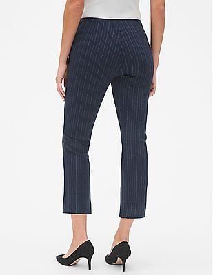 GAP Women Blue High Rise Stripe Crop Kick Pants