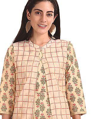 Anahi Printed Kurta With Check Cover Up