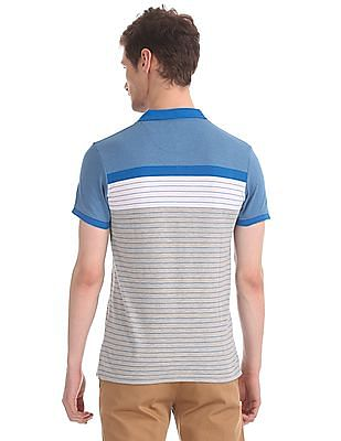 Roots by Ruggers Blue And Grey Striped Pique Polo Shirt