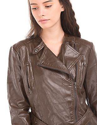 U.S. Polo Assn. Women Grained Regular Fit Biker Jacket