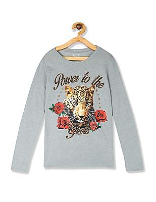 The Children's Place Girls Grey Long Sleeve 'Power To The Girls' Tiger Graphic Tee