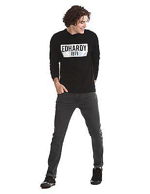 Ed Hardy Black Brand Print Crew Neck Sweatshirt