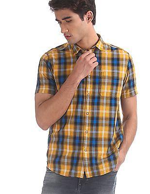 Flying Machine Yellow Short Sleeve Check Shirt