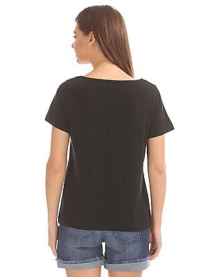 Elle Embroidered Front Round Neck Top