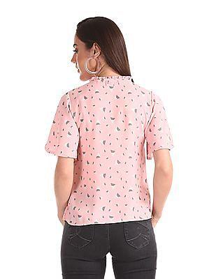 Elle Studio Pink Ruffle Neck Geometric Print Top