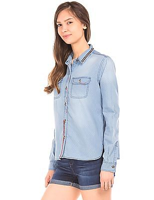 Elle Polka Dot Chambray Shirt