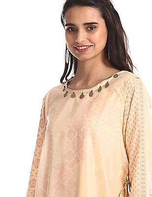 Anahi Beige Printed Kurta With Cover Up