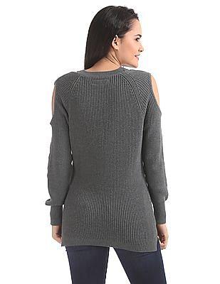 Aeropostale Cold Shoulder Ribbed Knit Sweater