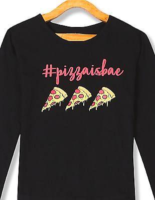 Cherokee Girls Long Sleeve Pizza Print T-Shirt