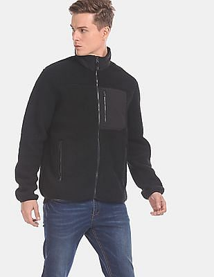 GAP Men Black Fleece Zip-Up Jacket