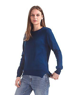 Cherokee Round Neck Solid Sweater