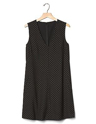 GAP Sleeveless Metallic Print Shift Dress