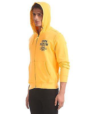 U.S. Polo Assn. Yellow Drawstring Hood Solid Sweatshirt