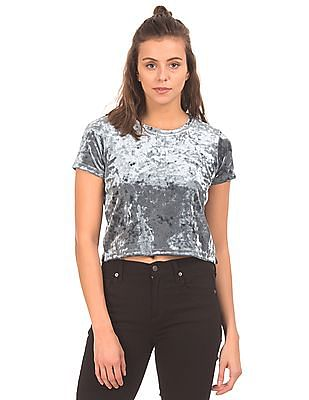 Aeropostale Solid Velvet Crop Top
