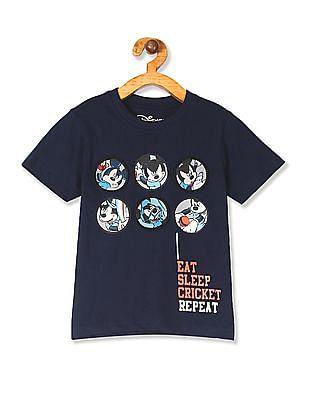 Colt Blue Boys Crew Neck Mickey Mouse Print T-Shirt