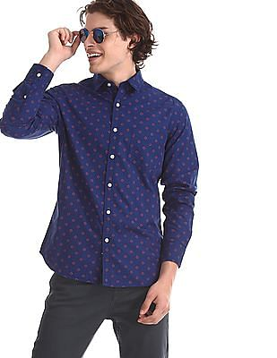 Flying Machine Blue Spread Collar Printed Shirt