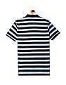 Roots by Ruggers Blue Regular Fit Striped Polo Shirt