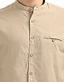 Cherokee Mandarin Collar Cotton Linen Blend Shirt