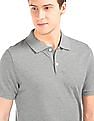 GAP Men Grey Heathered Pique Polo Shirt