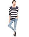 Flying Machine Women Striped Pointelle Sweater