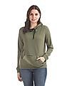 Flying Machine Women Green Hooded Solid Sweatshirt