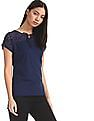 Cherokee Blue Lace Panel Tie Up Neck Top