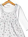 Donuts Grey Girls Printed Dungaree Skirt With Top