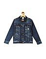Cherokee Blue Boys Printed Patch Denim Jacket