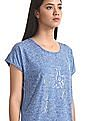 SUGR Blue Round Neck Patterned Knit Active Top