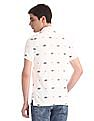 U.S. Polo Assn. Denim Co. White Allover Print Pique Polo Shirt