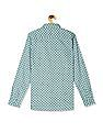 U.S. Polo Assn. Kids Green Boys Spread Collar Printed Shirt
