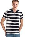 Roots by Ruggers Navy and Ecru Patch Pocket Striped Polo Shirt