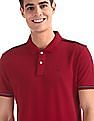 Arrow Sports Red Solid Compact Cotton Polo Shirt