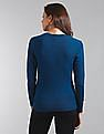 GAP Women Blue Slim Crew Neck Cardigan Sweater