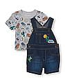 The Children's Place Baby Boys Short Sleeve 'Stay Cool' Print Tee And Sleeveless Desert Patch Denim Shortall Set