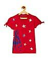 U.S. Polo Assn. Kids Girls Tie Up Sleeve Star Print T-Shirt
