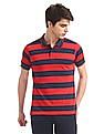 Ruggers Navy and Red Horizontal Stripe Tipped Polo Shirt