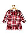 Donuts Girls Long Sleeve Check Dress